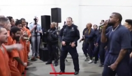 Rapper Kayne West surprises inmates at Houston Jail in Texas.